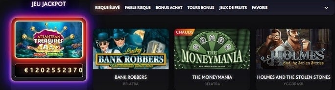 Jeux jackpots