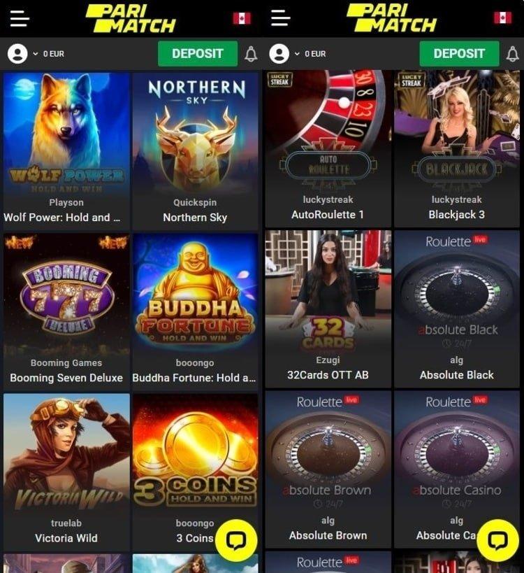 Aperçu app mobile Parimatch