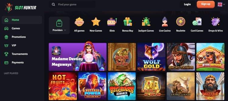 page d'accueil slothunter casino